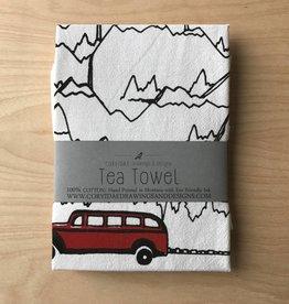 Corvidae Tea Towel- Red Bus