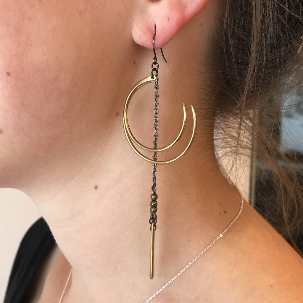 Earrings- Sorcerer Moon & Pyrite