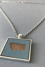 State Cameo Pendant- Square, Silver, Blue