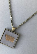 State Cameo Pendant- Square, Brass, Grey