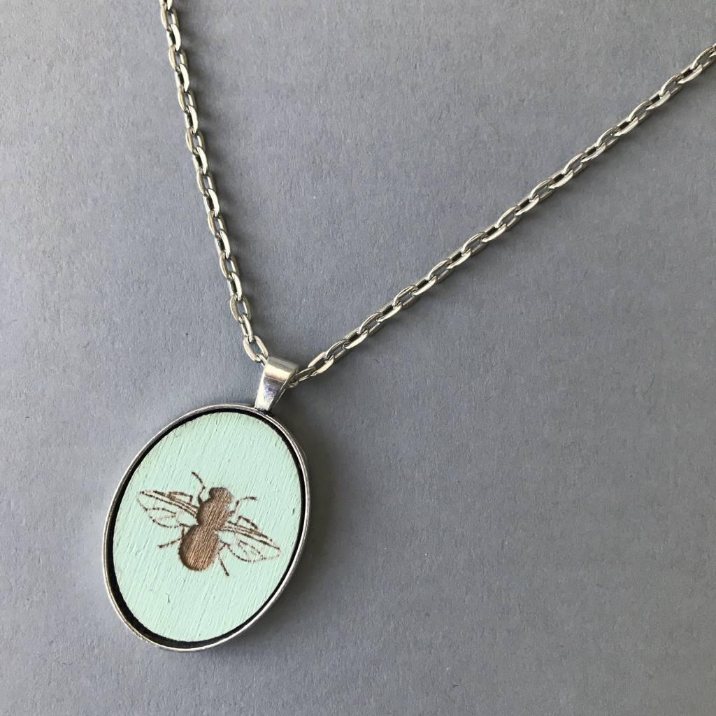 Bee Pendant- Silver, Aqua