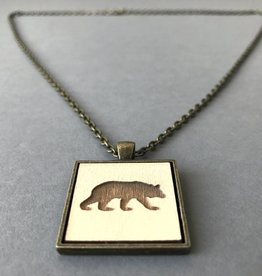 Bear Pendant- Brass, Buttercream