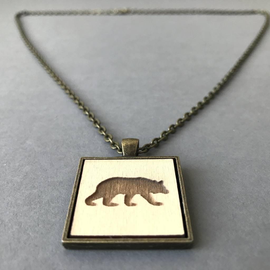 Bear Pendant- Brass, Buttercream