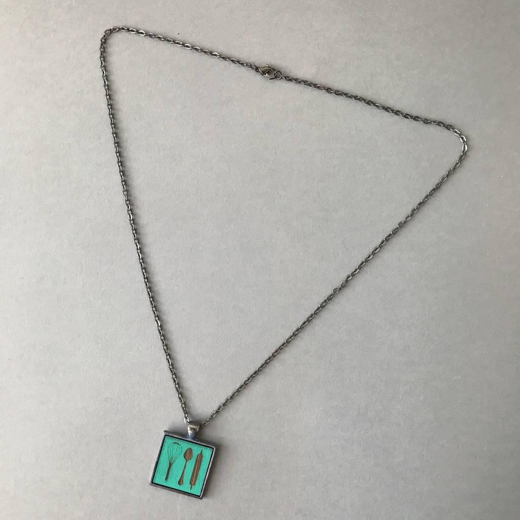 Baker's Pendant- Gunmetal, Turquoise