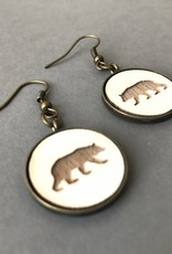 Earrings- Bear Pendant, Antique Brass, White