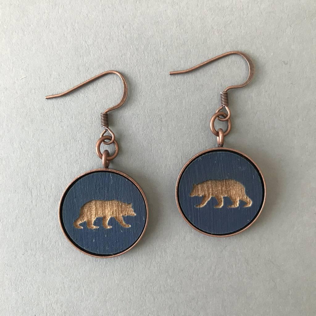 Earrings- Bear Pendant, Copper, Navy Blue