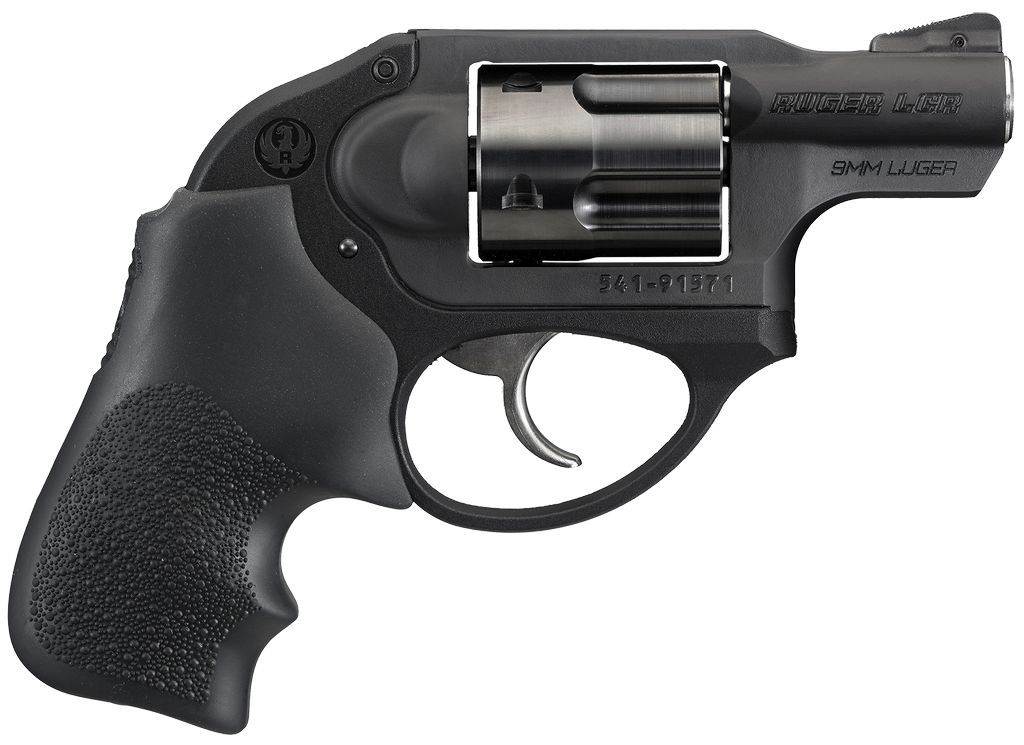 "RUGER LCR DAO Standard 9mm 1.875"" 5rd Black Aluminum Hogue Tamer Monogrip"