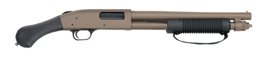 Mossberg SHOCKWAVE 12/14 3&quot; BL/FDE<br /> 26.5&quot; OVERALL LENGTH | 6 SHOT<br /> 12 Gauge