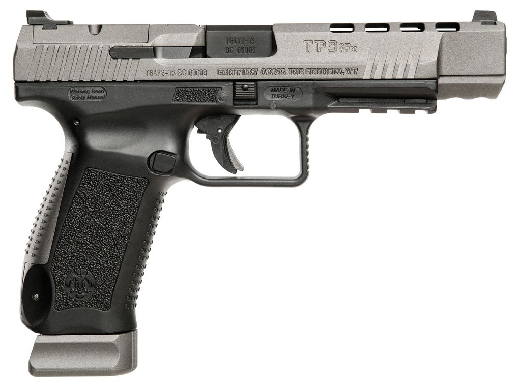 "Cantik Double 9mm Luger 5.2"" 20+1 Black Interchangeable Backstrap Grip Gray Cerakote"