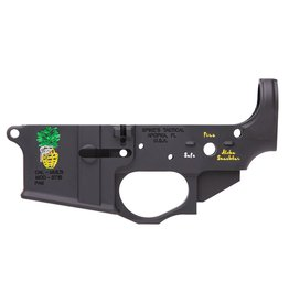 Spikes Tactical Stripped Lower Pineapple Grenade Multi-Caliber Black Hardcoat Anodized 7075 T6 Aluminum