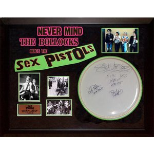 Sex Pistols – band signed drumhead