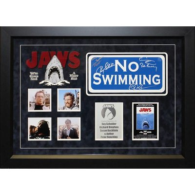 """""""Jaws"""" Cast signed """"No Swimming"""" sign"""
