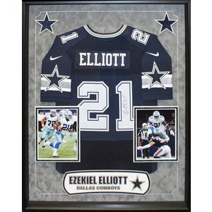 """Dallas Cowboys"" Ezekiel Elliott signed blue jersey"