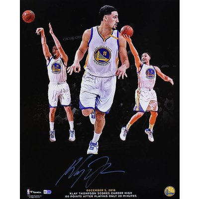 """Golden State Warriors""  Klay Thompson ""60 Points in 29 Minutes"" Signed 16x20 Photo"