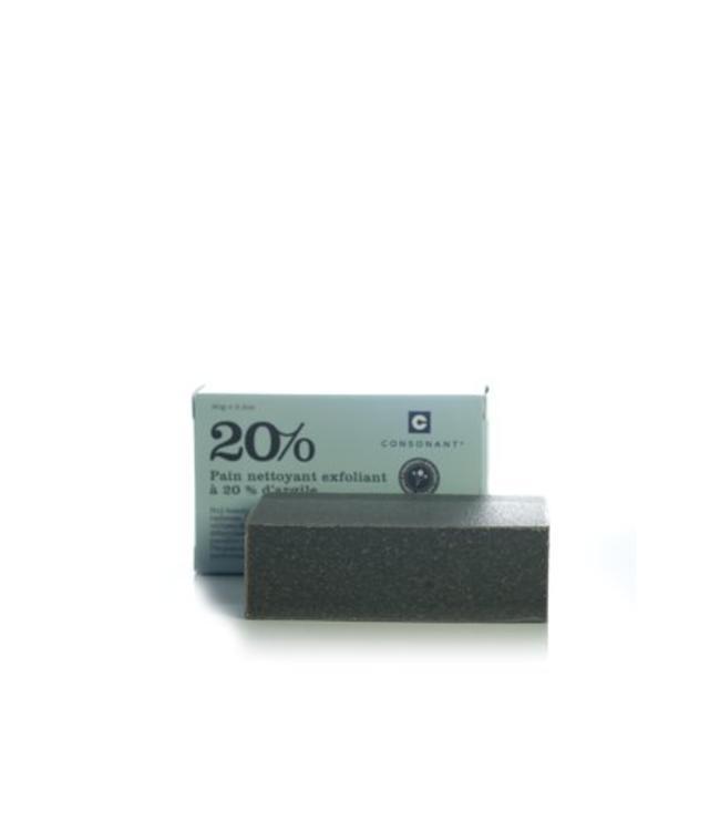 Consonant  Pain Nettoyant Exfoliant à 20% d'argile 90 grams