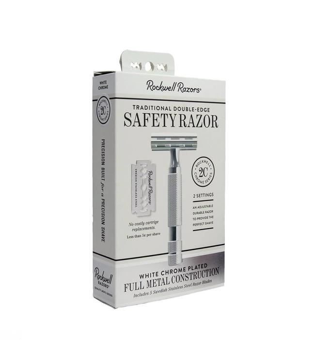 Rockwell Razors Rasoir de sûreté réglable 2C blanc chromé