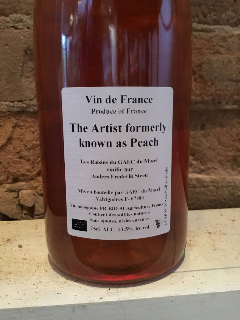 "2016 Anders Fredrick Steen ""Artist Formerly Known as Peach"" VDF Rose, 750ml"