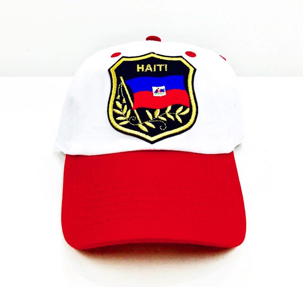 Haiti Sheild 2 tone dad cap ( white/red )