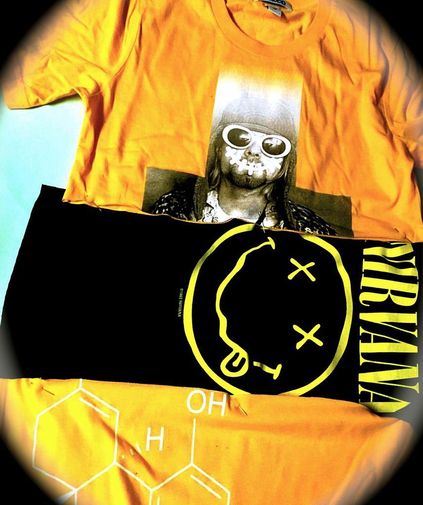 BWood Diamond Wave Kurt Krist Nirvana Rally Tour Cut n Sew Tee ( yellow )