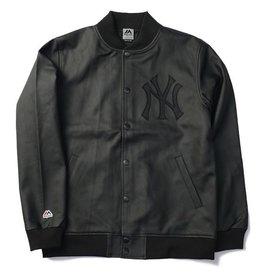MAJESTIC JAPAN NEW YORK YANKEES TEAM LOGO STADIUM JACKET BLACK LEATHER<br /> MAJESTIC JAPAN NEW YORK YANKEES TEAM LOGO STADIUM JACKET BLACK LEATHER