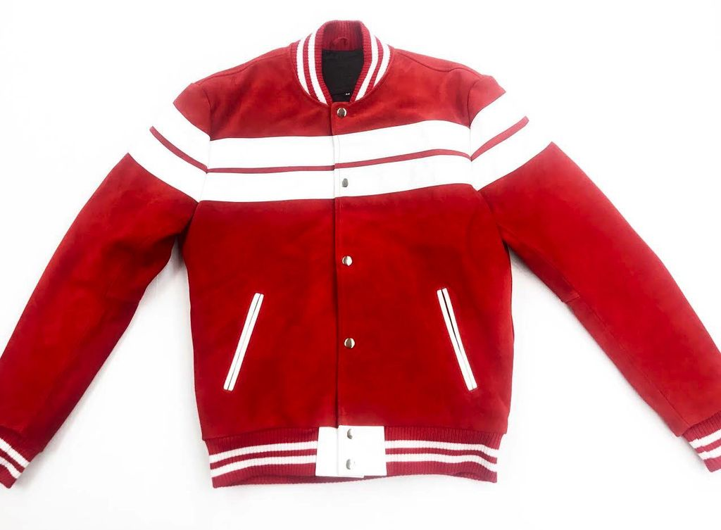 La Grand Homme Suede/Leather Bomber Varsity Jacket ( red & white )