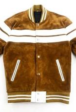La Grand Homme Suede/Leather Bomber Varsity Jacket ( wheat & white )