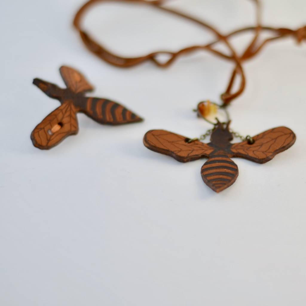 Leather Bee Barrette