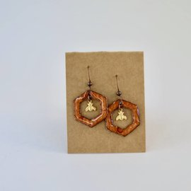 Large Hexagon w/ Bee Earrings