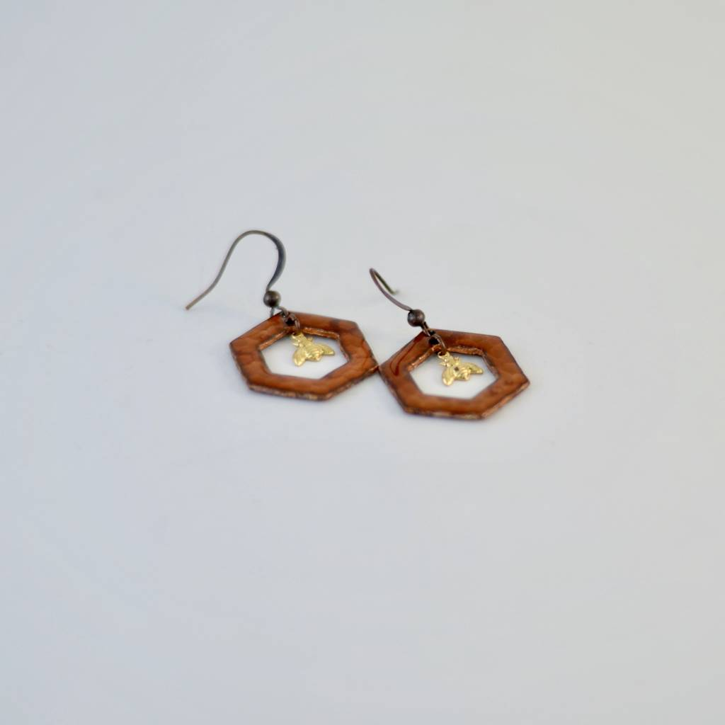 Large Hexagon w/ Bee Earrings
