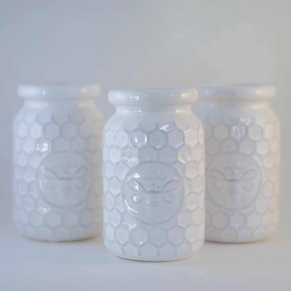 White Ceramic Honeybee Bottle