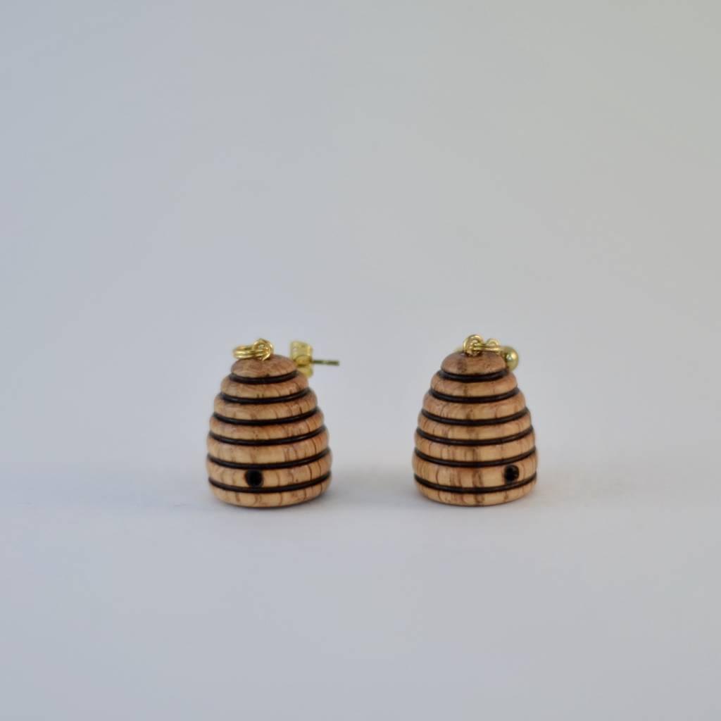 Wooden Skep Earrings