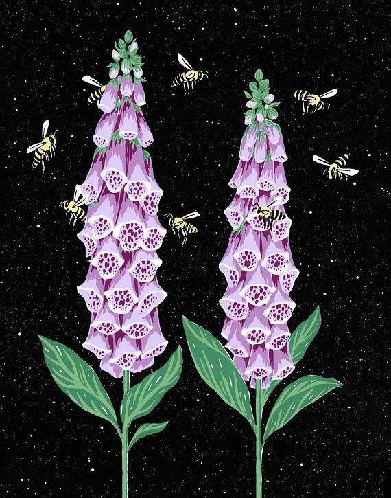 Foxglove Honeybee Card