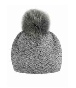 Mitchie's Matchings - Knitted hat with crystals and fox pom.