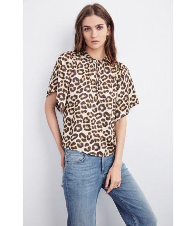 VELVET Velvet – Leopard mock neck