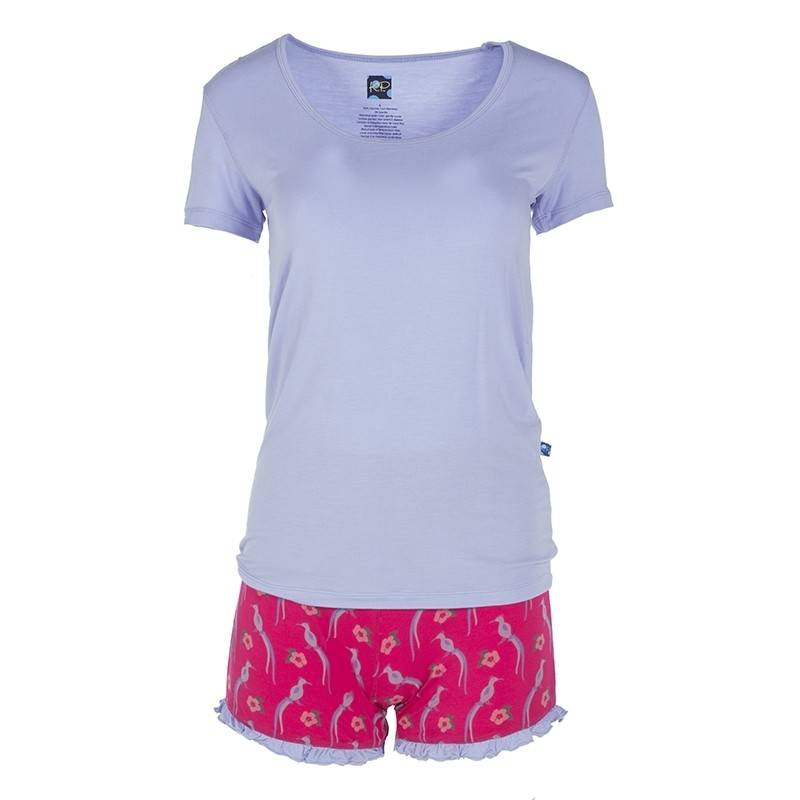 KicKee Pants Kickee Pants Print Short Sleeve Scoop Neck Tee & Ruffle Short Outfit