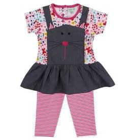 Lilly + Sid Lilly + Sid Mock Pin Dress/Leggings Set SS