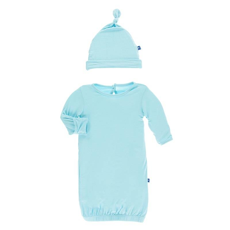 KicKee Pants Solid Layette Gown & Knot Hat Set - Little Options