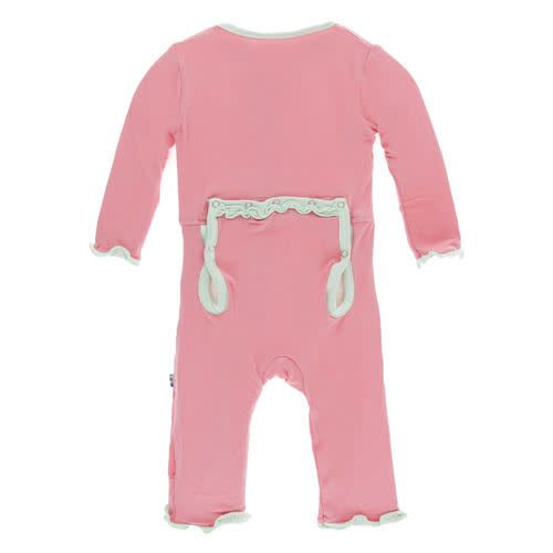 KicKee Pants KicKee Pants Solid Layette Classic Ruffle Coverall w/Zipper
