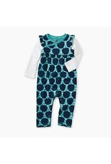 Tea Collection Tea Collection Layered Sleeve Wrap Neck Romper Apple Wax Print