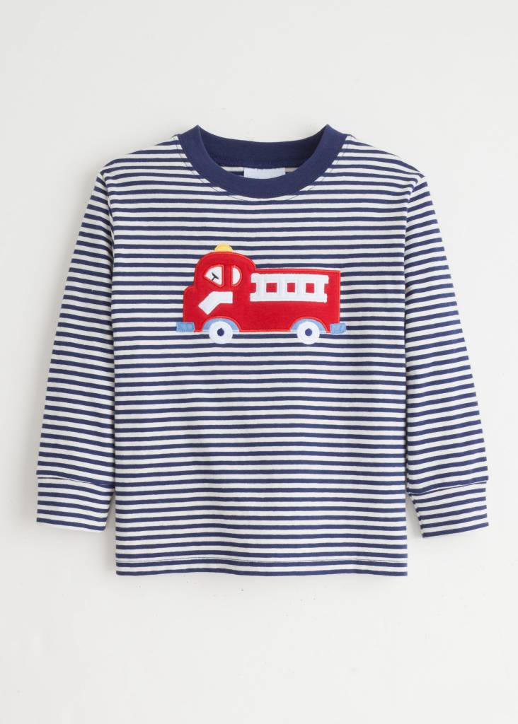 Little English Little English Fire Truck Applique Shirt