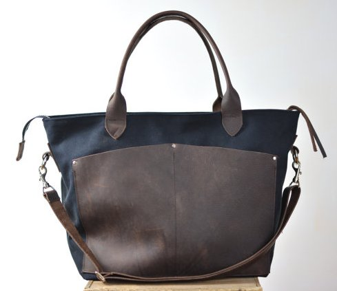 Lock & Key Leathers Black Waxed & Leather Diaper Bag