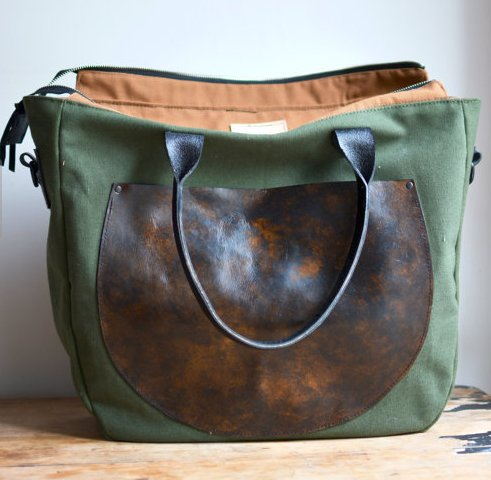 Lock & Key Leathers Green Wunderlust canvas & leather diaper bag