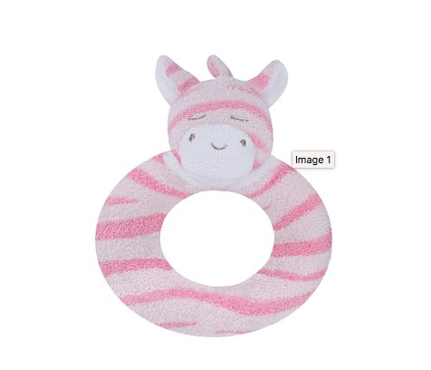 Angel Dear Pink Zebra Soft Rattle Ring