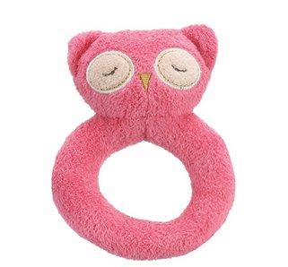 Angel Dear Pink Owl Soft Rattle Ring
