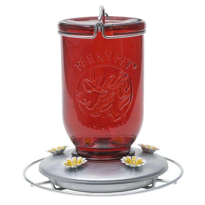Perky Pet Red Mason Jar Feeder