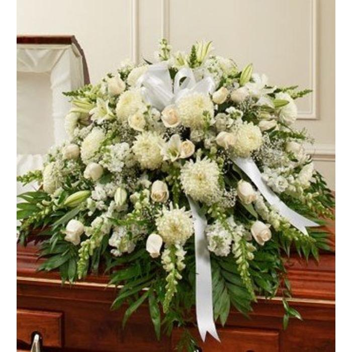 Graceful in White Casket Spray