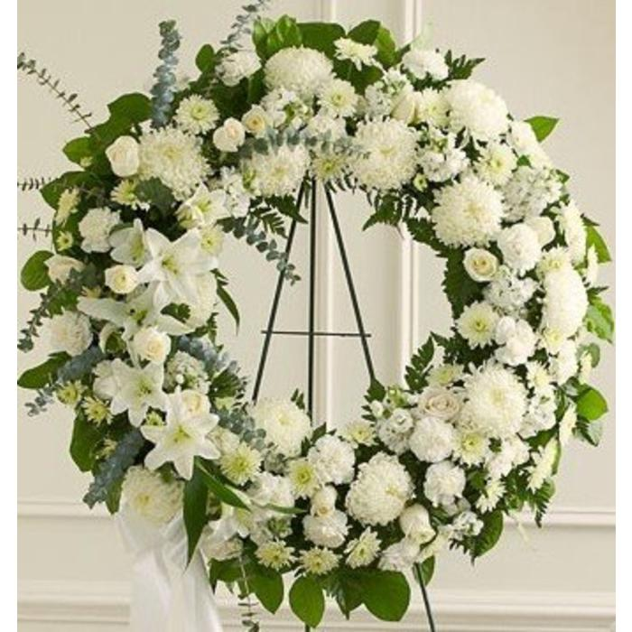 Graceful in White Wreath Spray