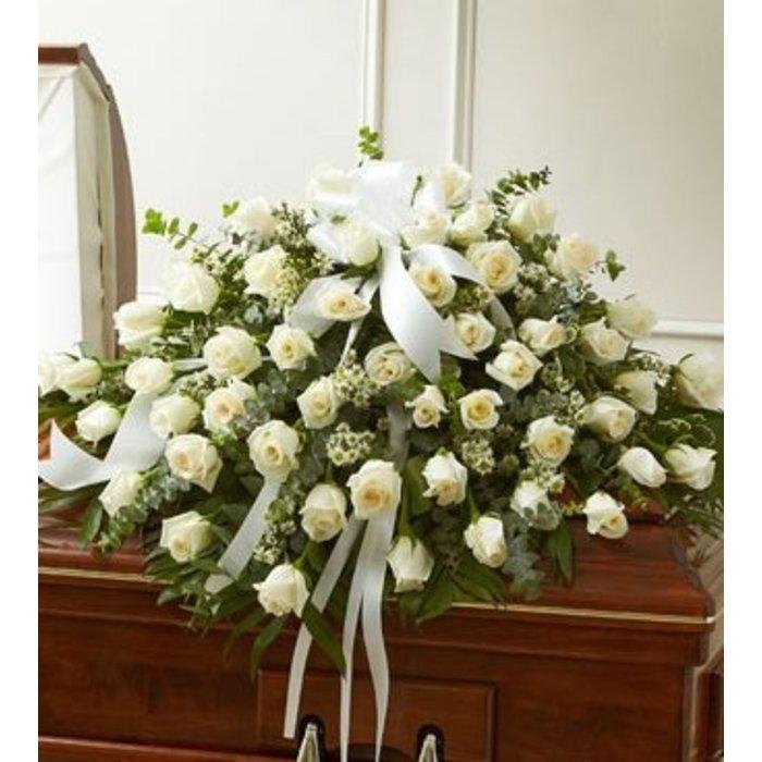 White Rose Tribute Casket Spray