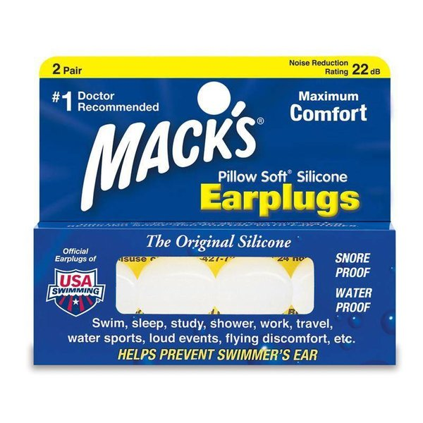 Macks Pillow Soft Swim Ear Plugs 2 Pair