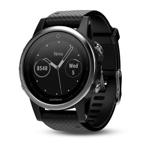 Garmin Fenix 5S Silver GPS Watch - Black Band